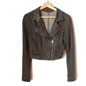 H&M Cropped Knit Studded Moto Jacket Grey XS S